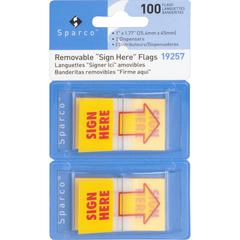 "Sparco Pop-up Sign Here Flags in Dispenser - 1"" x 1.75"" - Rectangle - ""SIGN HERE"" - Yellow - Self-adhesive, Removable - 2 / Pack"