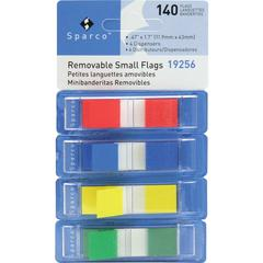 "Sparco Pop-up Removable Small Flags - 0.50"" - Assorted - See-through, Self-adhesive, Removable - 140 / Pack"