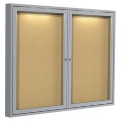 "Ghent Indoor Lighted Bulletin Board - 36"" Height x 48"" Width - Cork Surface - Satin Aluminum Frame - 1 Each"