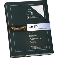 "Southworth Linen Business Paper - Letter - 8 1/2"" x 11"" - 32 lb Basis Weight - Linen, Textured - 250 / Box - White"