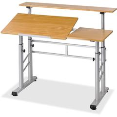 Safco Height-Adjustable Split Level Drafting Table - Rectangle Top - Assembly Required - Steel, Wood