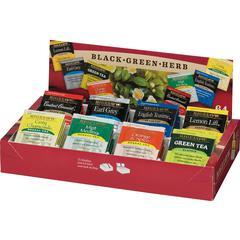 Bigelow 8-Flavor Tea Assortment Tea Tray Pack - Black Tea, Green Tea - Assorted - 64 / Box