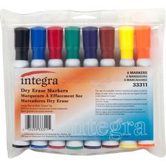 Integra Chisel Point Dry-erase Markers - Chisel Marker Point Style - Assorted - 8 / Set