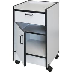 """Hausmann Drawer and Cabinet Mobile Cart - 18.5"""" x 18.5"""" x 30"""" - 1 x Drawer(s) - 180 lb Load Capacity - Rounded Edge, Swivel Casters - Gray - Laminated"""