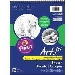 "Art1st Medium Weight Acid Free Sketch Books - 30 Sheets - Spiral - 9"" x 12"" - White Paper - Acid-free, Mediumweight - Recycled - 30 / Pad"
