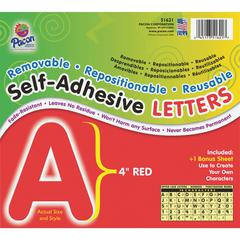 "Pacon Reusable Self-Adhesive Letters - (Uppercase Letters, Number, Punctuation Marks) Shape - Self-adhesive - Acid-free, Fadeless - 4"" Length - Puffy Font - Red - 78 / Pack"