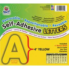 "Pacon Self-Adhesive Removable Letters - 78 Character - Self-adhesive - Acid-free, Fadeless - 4"" Length - Yellow - 1 / Pack"