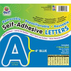 "Pacon Reusable Self-Adhesive Letters - (Uppercase Letters, Number, Punctuation Marks) Shape - Self-adhesive - Acid-free, Fadeless - 4"" Length - Puffy Font - Blue - 1 / Pack"