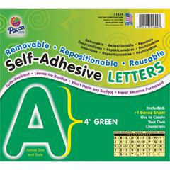 "Pacon Self-Adhesive Removable Letters - 78 Character - Self-adhesive - Acid-free, Fadeless - 4"" Length - Green - 1 / Pack"