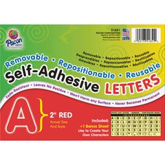 "Pacon Reusable Self-Adhesive Letters - (Uppercase Letters, Number, Punctuation Marks) Shape - Self-adhesive - Acid-free, Fadeless - 2"" Length - Puffy Font - Red - 159 / Pack"