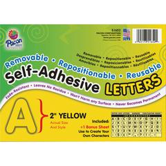 "Pacon Colored Self-Adhesive Removable Letters - 159 Character - Self-adhesive - Acid-free, Fadeless - 2"" Length - Yellow - 159 / Pack"