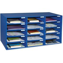 "Pacon Classroom Literature Sorters/Organizers - 15 Compartment(s) - Compartment Size 3"" x 12.50"" x 10"" - Wall Mountable - Recycled - Blue - Cardboard - 1Each"