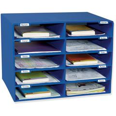 """Pacon Classroom Literature Sorters/Organizers - 10 Compartment(s) - Compartment Size 3"""" x 12.50"""" x 10"""" - Wall Mountable - Recycled - Blue - 1Each"""