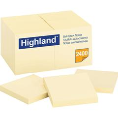 """Highland Self-Sticking Note Pads - 2400 - 3"""" x 3"""" - Square - 100 Sheets per Pad - Unruled - Yellow - Paper - Removable - 24 Pad"""