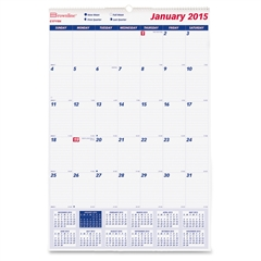 """Rediform Monthly Wall Calendar - Monthly - 1 Year - January 2016 till December 2016 - 1 Month Single Page Layout - 15.50"""" x 22.75"""" - Wall Mountable - White"""