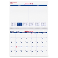 "Rediform 16-Month Monthly Wall Calendar - Monthly - 1.3 Year - September 2016 till December 2017 - 1 Month Double Page Layout - 11"" x 8"" - Wall Mountable - White"