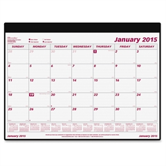 "Brownline Monthly Desk Pad Calendar - Monthly - 1 Year - January 2017 till December 2017 - 1 Month Single Page Layout - 23.50"" x 18.25"" - Desk Pad, Wall Mountable - White - Vinyl - Perforated, Holder,"