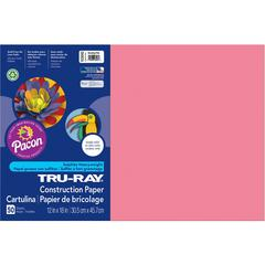 """Pacon Tru-Ray Construction Paper - 18"""" x 12"""" - 76 lb Basis Weight - 50 / Pack - Shocking Pink - Sulphite"""