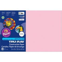 "Tru-Ray Heavyweight Construction Paper - 12"" x 18"" - 50 / Pack - Pink - Sulphite"