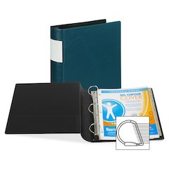 """Samsill Contour Cover D-Ring Reference Binder - 2"""" Binder Capacity - D-Ring Fastener - Teal - Recycled - 1 / Each"""