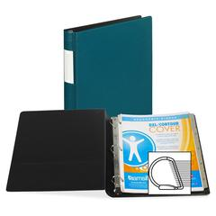 """Samsill Contour Cover D-Ring Reference Binder - 1"""" Binder Capacity - D-Ring Fastener - Teal - Recycled - 1 / Each"""
