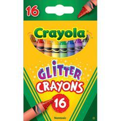 "Crayola Crayola Glitter Crayon - 3.6"" Length - 0.3"" Diameter - Assorted - 16 / Box"