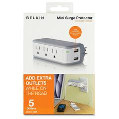 Belkin 3-Outlets Surge Suppressor with USB Charging - 3 x AC Power, 2 x USB - 918 J - 5 V DC Output