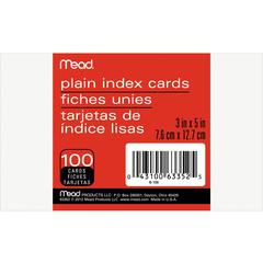 "Mead 90 lb Stock Index Cards - Plain - Unruled - 5"" x 3"" - White Paper - 100 / Pack"