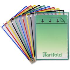 "Tarifold Pivoting Pockets for Wall or Desk Systems - Support Letter 8.50"" x 11"" Media - Pivot, Flexible - Assorted Frame, Clear Pocket - Metal Pivot, Steel Wire, Polyvinyl Chloride (PVC) Pocket - 10 /"