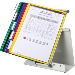 Tarifold Desktop Reference System - Desktop - 10 Panels - Wire-reinforced, 360° Swivel Base - Assorted Panel - Metal Base, Polyvinyl Chloride (PVC) Display Panel - 1 Each