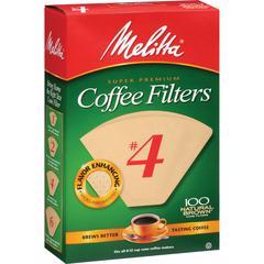 Melitta Super Premium No. 4 Coffee Filters - Gluten-free, Double Crimped, Disposable, Compostable, Burst Resistant, Tear Resistant - 100 / Pack - Brown