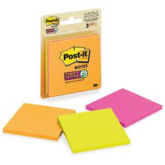 """Post-it Super Sticky Notes, 3 in x 3 in, Rio de Janeiro Color Collection - 135 - 3"""" x 3"""" - Square - 45 Sheets per Pad - Unruled - Assorted - Paper - Self-adhesive - 3 Pad"""