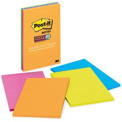 "Post-it Super Sticky Notes, 4 in x 6 in, Rio de Janeiro Color Collection, Lined - 180 - 4"" x 6"" - Rectangle - 45 Sheets per Pad - Ruled - Assorted - Paper - Self-adhesive, Repositionable - 4 Pad"