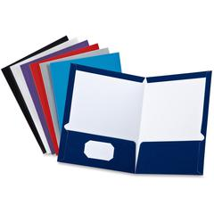 "Oxford Showfolio Laminated Portfolios - Letter - 8 1/2"" x 11"" Sheet Size - 100 Sheet Capacity - 2 Inside Front & Back Pocket(s) - Black, Blue, Gray, Navy, Purple, White, Red - 1 Each"