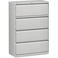 """Lorell Lateral File - 36"""" x 18.6"""" x 52.5"""" - 4 x Drawer(s) for File - Legal, Letter, A4 - Lateral - Rust Proof, Leveling Glide, Interlocking, Ball-bearing Suspension, Label Holder - Light Gray - Baked"""