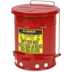"""Justrite Just Rite 6 Gallon Oily Waste Can - 6 gal Capacity - Round - 15.9"""" Height x 11.9"""" Diameter - Steel"""