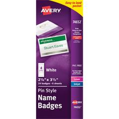 Avery Top-Loading Pin Style Name Badge Kit - 0 Recycled Content - 24 / Pack