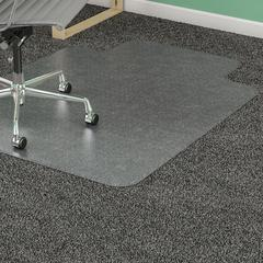 "Lorell Diamond Anti-static Chair Mat - Carpeted Floor - 53"" Length x 45"" Width x 0.12"" Thickness - Lip Size 12"" Length x 25"" Width - Clear"