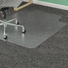 "Lorell Diamond Anti-static Chair Mat - Carpeted Floor - 60"" Length x 46"" Width x 0.12"" Thickness - Lip Size 12"" Length x 25"" Width - Clear"