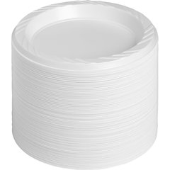 "Genuine Joe Reusable Plastic White Plates - 6"" Diameter Plate - Plastic - White - 125 Piece(s) / Pack"