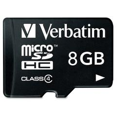Verbatim 8GB MicroSDHC Memory Card with Adapter, Class 4 - 1 Card/1 Pack