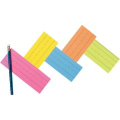 """9""""W x 3""""H - Dual-sided - 1.5"""" Rule/Single line Rule - 100 Cards/Pack - 5 Assorted Super Bright Colors"""