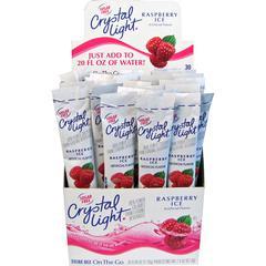 Crystal Light On-The-Go Raspberry Mix Sticks - Powder - Raspberry Ice Flavor - 0.08 oz - 30 / Box