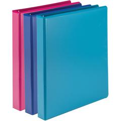 "Samsill Economy 2-Pocket Round Ring View Binders - 1"" Binder Capacity - Letter - 8 1/2"" x 11"" Sheet Size - 2 Internal Pocket(s) - Assorted - Recycled - 1 Each"