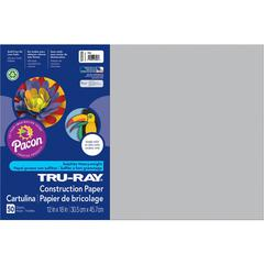 "Pacon Tru-Ray Sulphite Construction Paper - 12"" x 18"" - 76 lb Basis Weight - 50 / Pack - Gray - Sulphite"