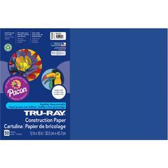 "Tru-Ray Heavyweight Construction Paper - 12"" x 18"" - 50 / Pack - Royal Blue - Sulphite"