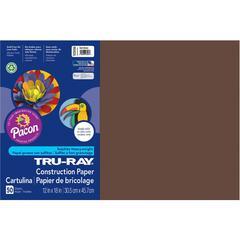 "Tru-Ray Heavyweight Construction Paper - 12"" x 18"" - 76 lb Basis Weight - 50 / Pack - Dark Brown - Sulphite"