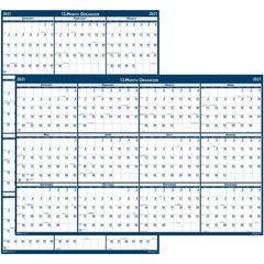"""House of Doolittle Write-on Laminated Wall Planner - Yes - Monthly - 1 Year - January 2020 till December 2020 - 32"""" x 48"""" - Wall Mountable - Blue, Gray - Paper - Laminated, Erasable, Write on/Wipe off"""