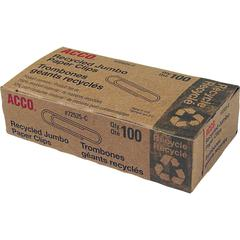 ACCO® Recycled Paper Clips, Smooth Finish, Jumbo Size, 100/Box - Jumbo - 20 Sheet Capacity - Reusable, Durable - 100 / Box - Silver - Metal