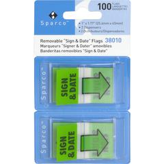 "Sparco ""Sign & Date"" Preprinted Flags in Dispenser - 100 - 1"" x 1.75"" - Rectangle - ""Sign & Date"" - Green - Removable, Self-adhesive - 100 / Pack"